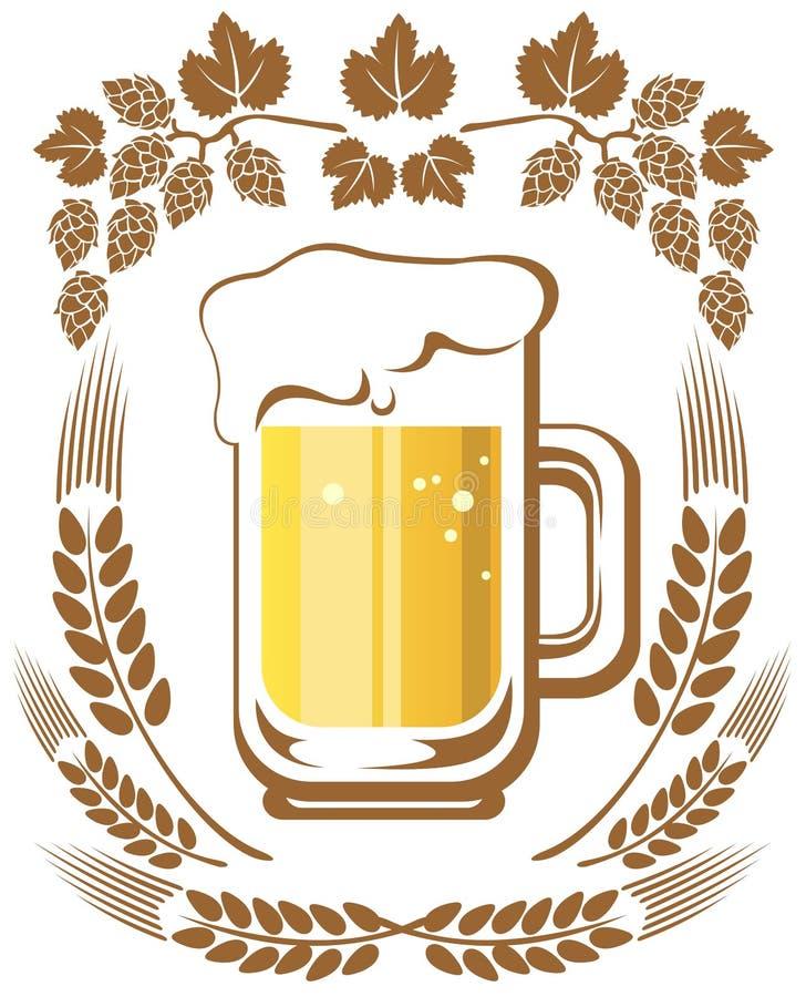 啤酒和蛇麻草 库存例证