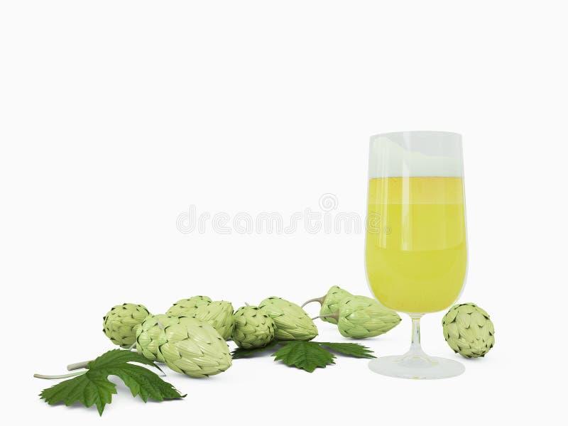 啤酒和蛇麻草 库存图片