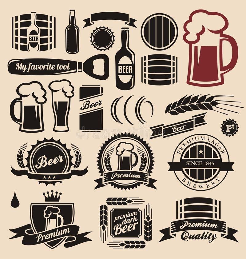 啤酒和饮料设计要素收集 库存例证