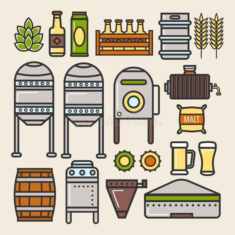 啤酒啤酒厂工厂生产线元素导航象 库存例证