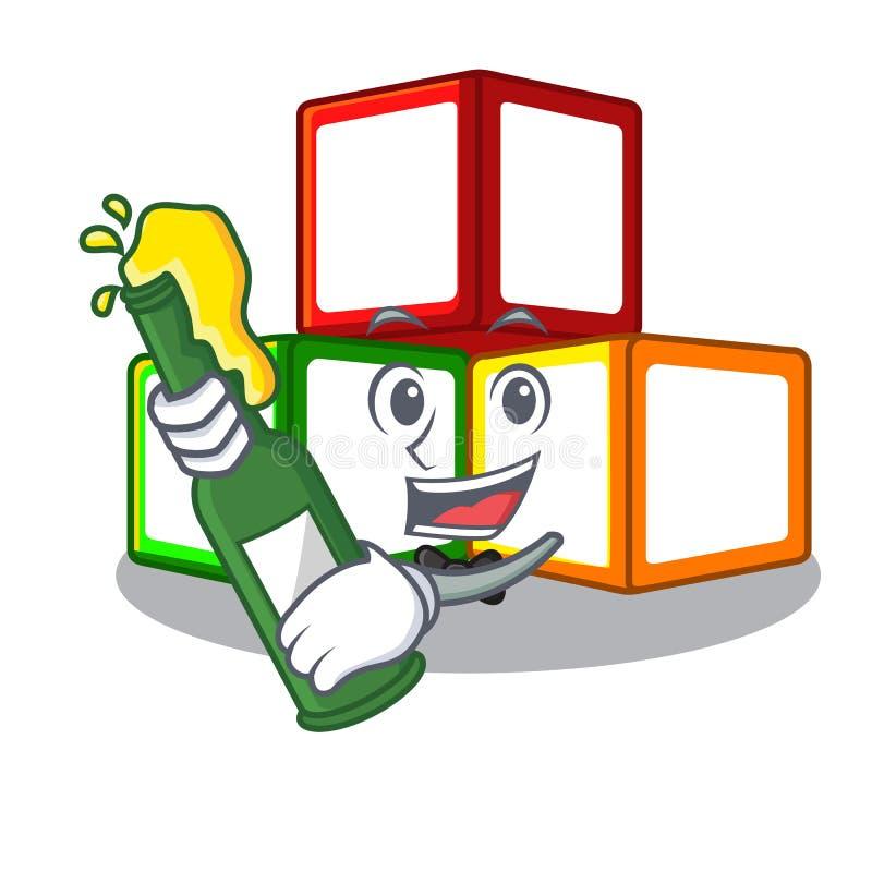 啤酒在立方体箱子吉祥人的玩具块 向量例证