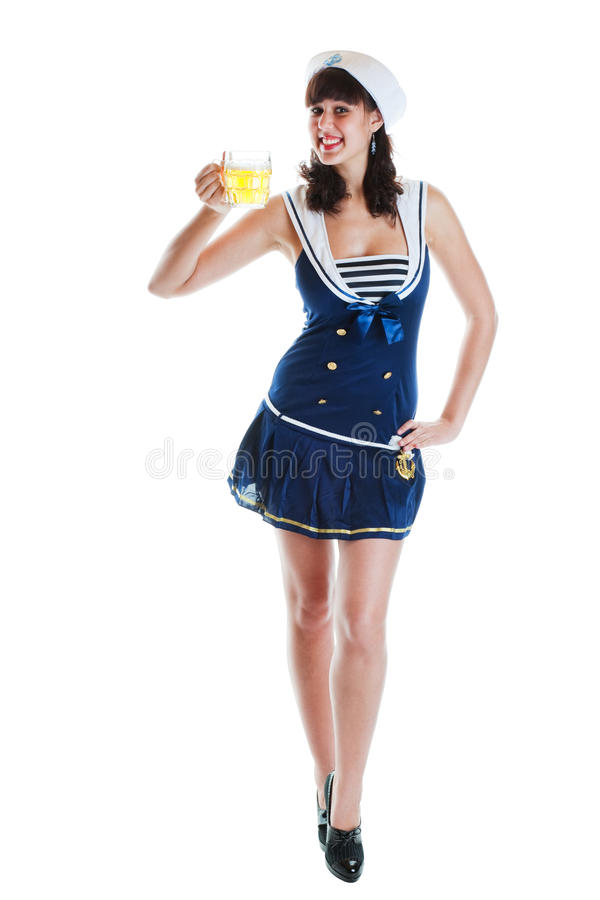 啤酒女孩pinup水手 图库摄影