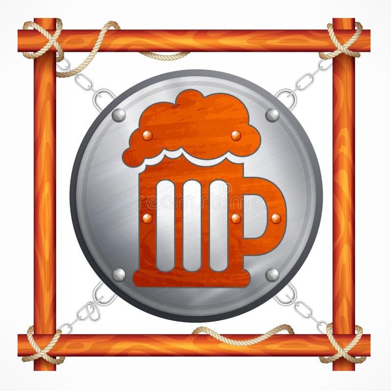 啤酒客栈的木制框架 向量例证