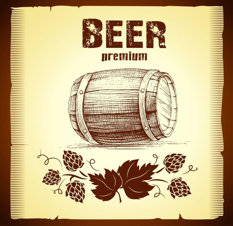 啤酒小桶用蛇麻草 向量例证