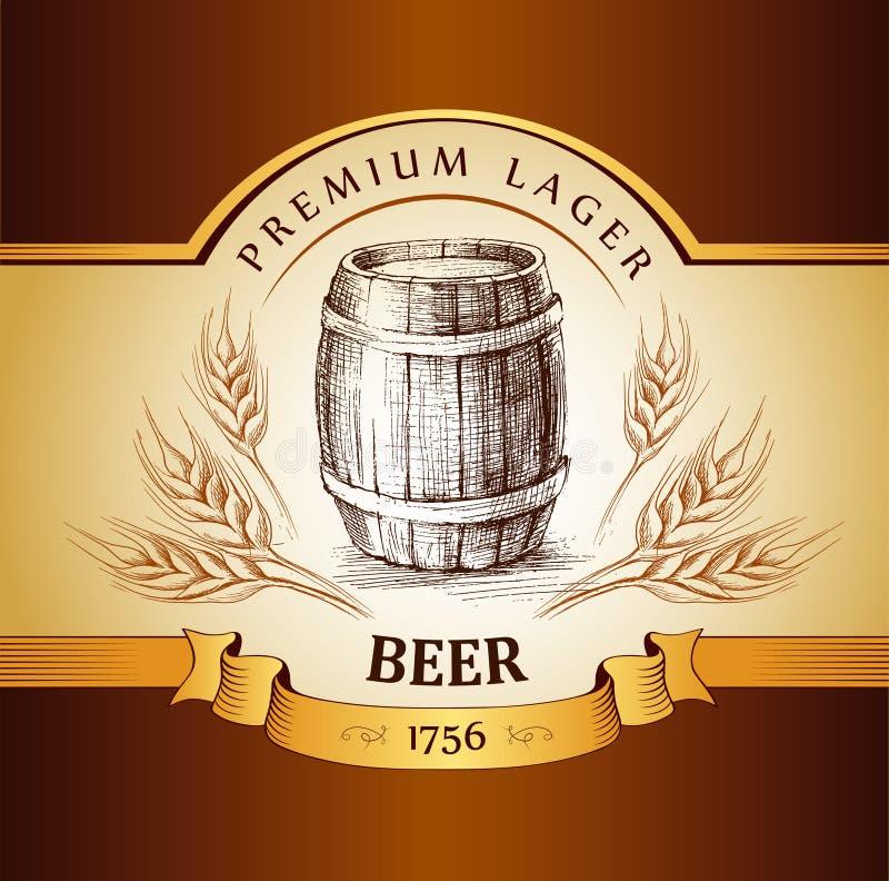 啤酒小桶用麦子 库存例证