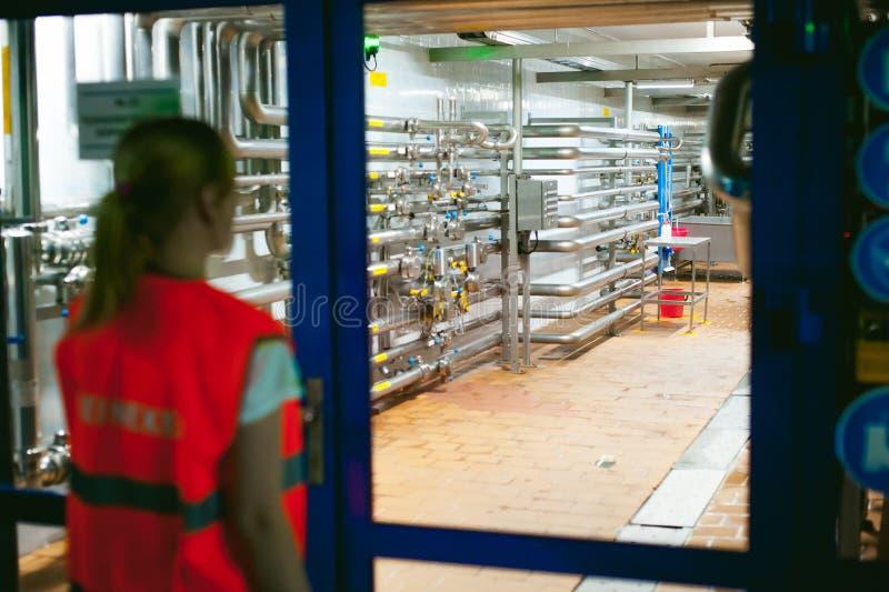 啤酒工厂的女工 长袍的画象妇女,站立在背景线食物生产,检查管理控制 免版税库存照片