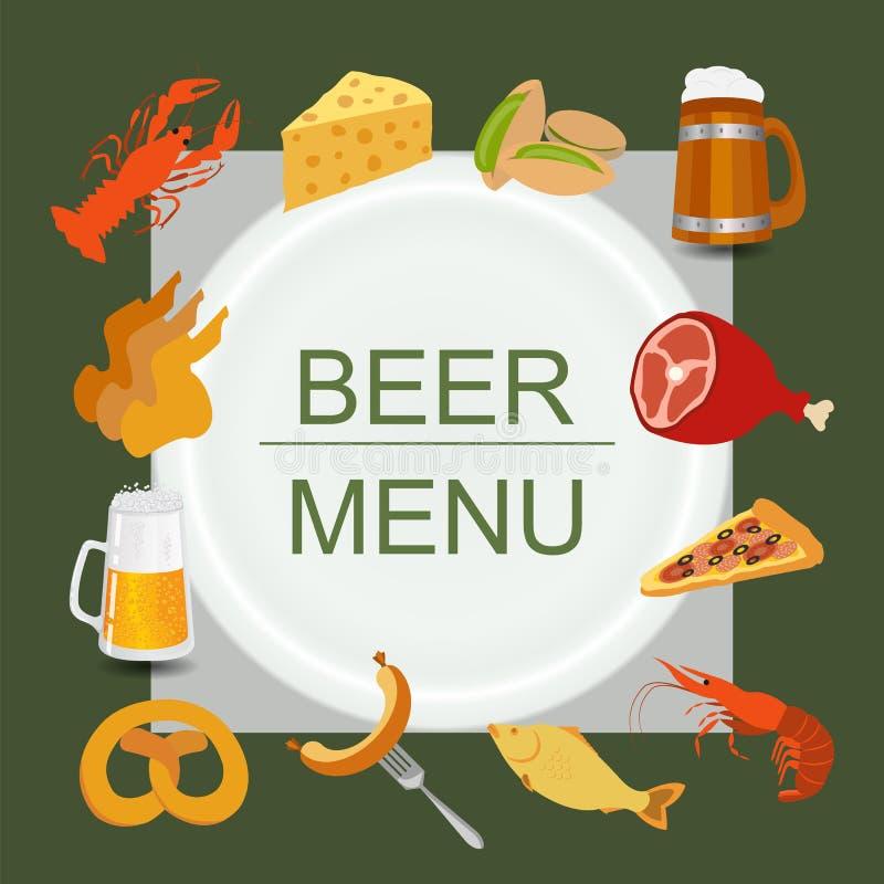 啤酒快餐,设置了创造的您的infographics象 皇族释放例证