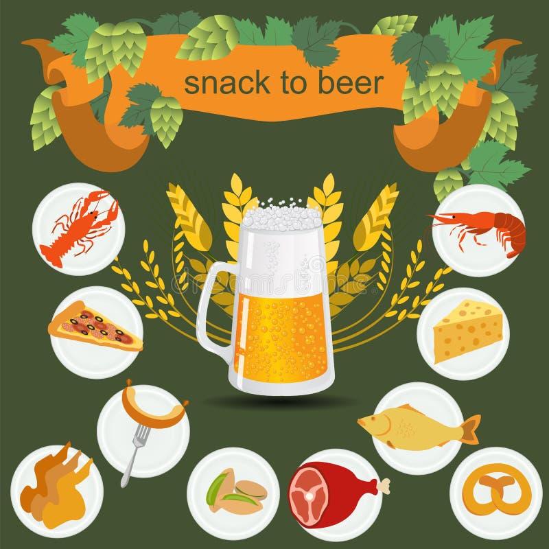 啤酒快餐infographics 向量例证