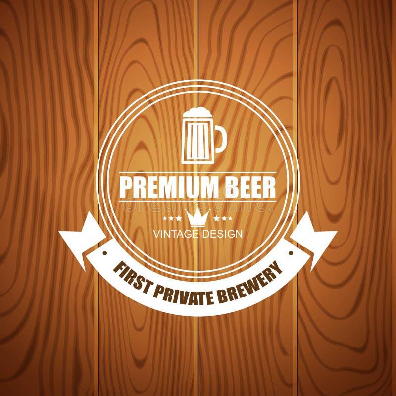 啤酒房子的,酿造的公司,餐馆,客栈,在木背景的酒吧啤酒略写法 向量例证