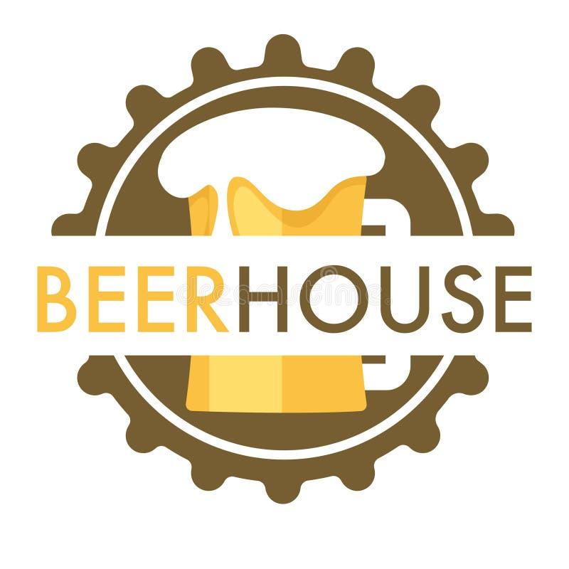啤酒房子被隔绝的象盖帽和杯子有泡沫的 库存例证
