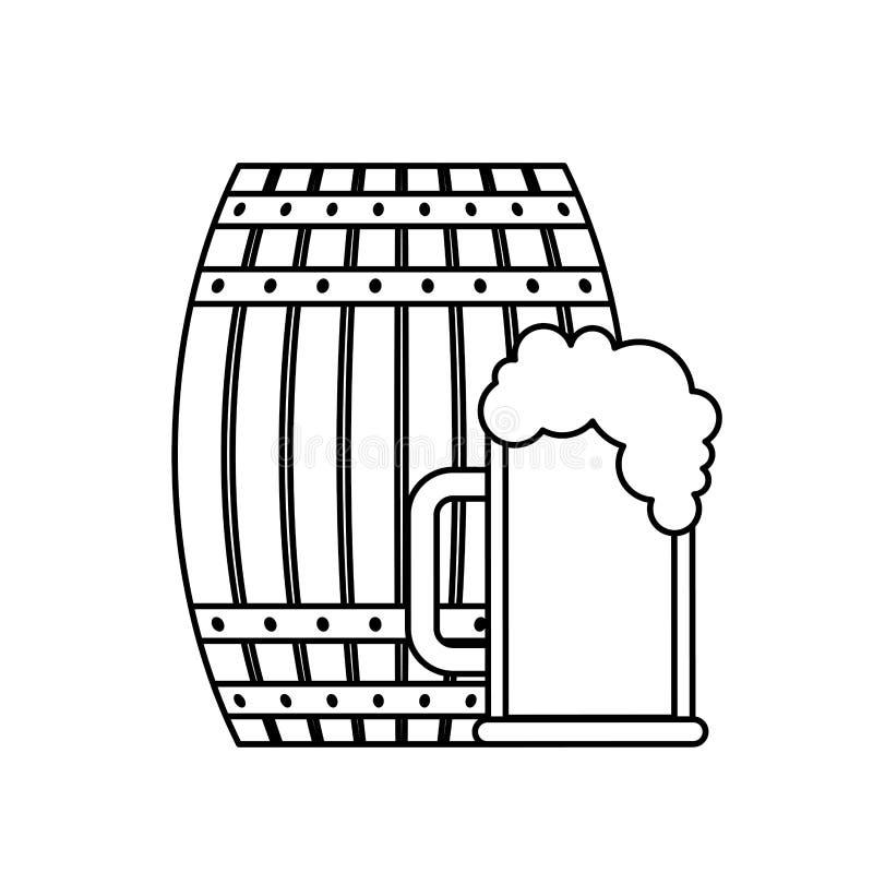 啤酒木桶和玻璃杯子 库存例证