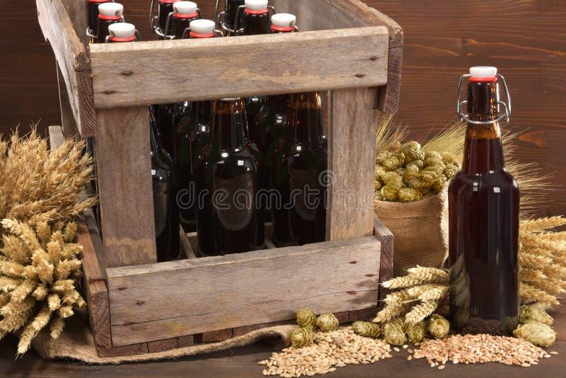 啤酒条板箱 免版税库存照片