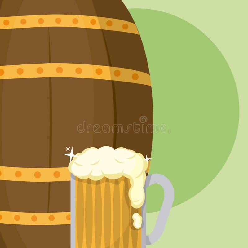 啤酒杯与木桶St patricks天 向量例证