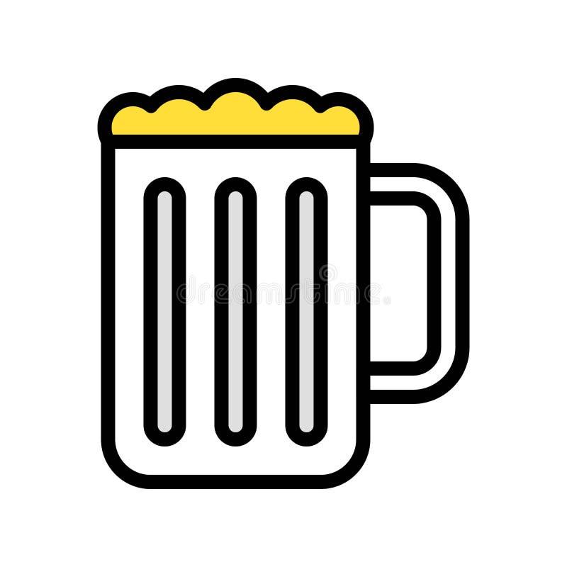 啤酒杯传染媒介例证,填装了样式象编辑可能的概述 向量例证