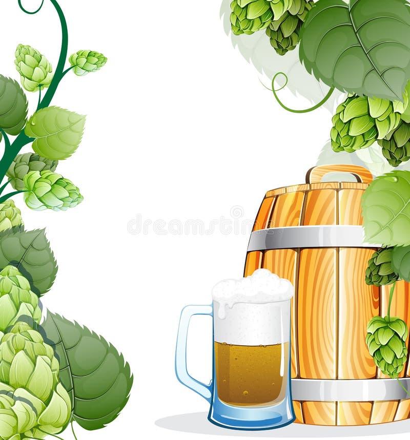 啤酒杯和啤酒桶 库存例证