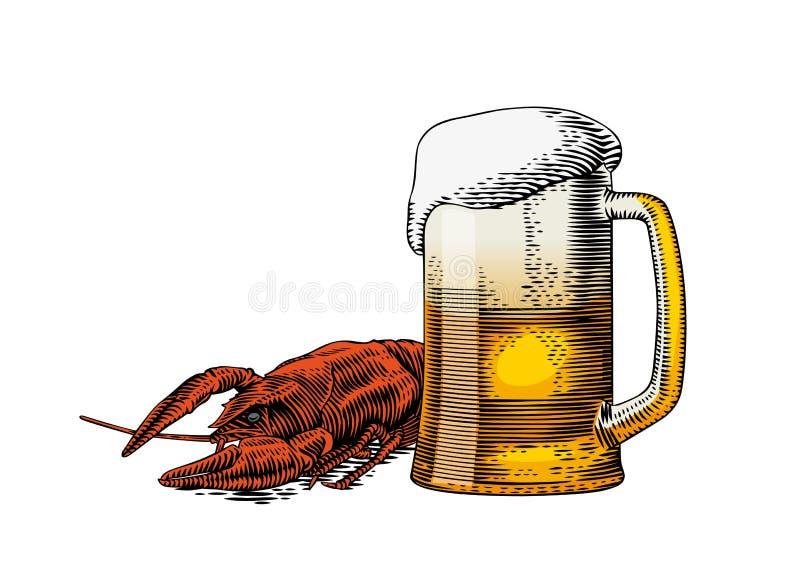 啤酒杯和小龙虾 向量例证
