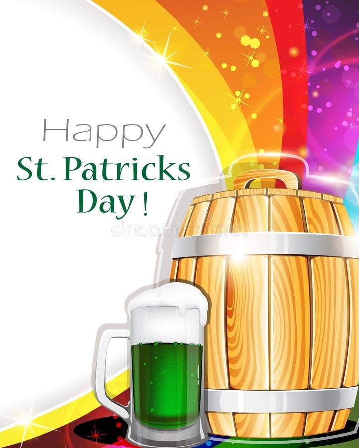 啤酒杯和桶在彩虹背景 皇族释放例证