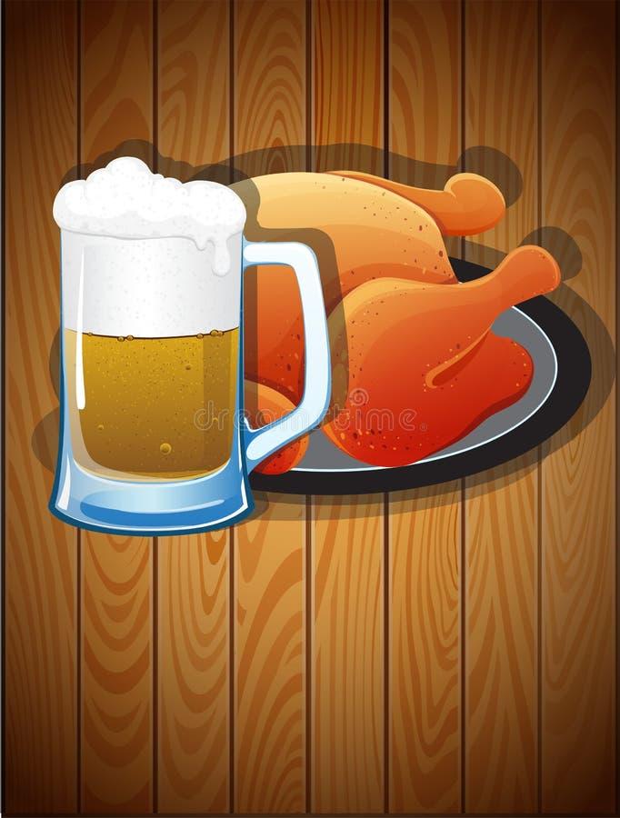 啤酒杯和烤鸡 库存例证