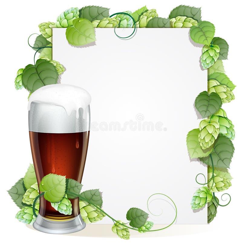 啤酒杯和蛇麻草分支 向量例证