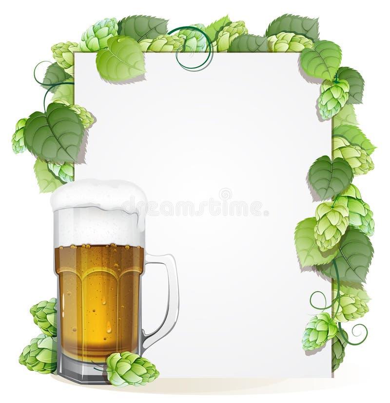 啤酒杯和蛇麻草 库存例证