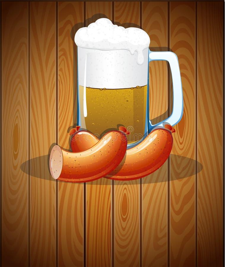 啤酒杯和香肠 库存例证