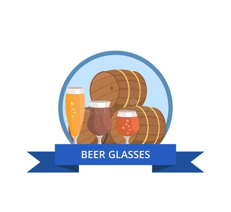 啤酒杯商标设计桶和三块玻璃 库存例证