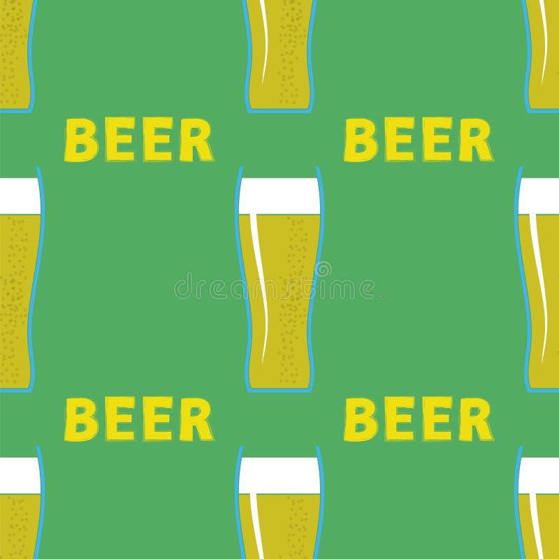 啤酒杯无缝的样式 向量例证