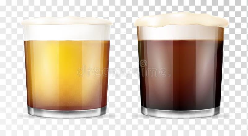 啤酒杯查出的白色 透明的杯子 向量例证
