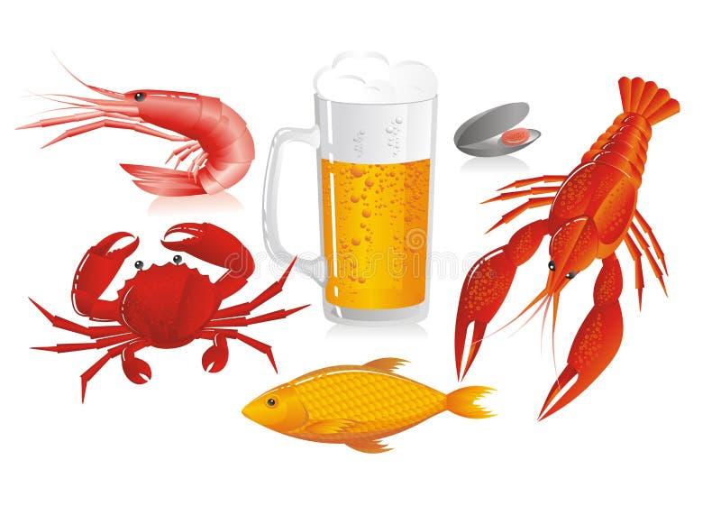 啤酒杯海鲜快餐 皇族释放例证
