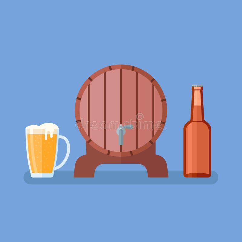啤酒杯,玻璃瓶和木桶在蓝色背景 平的样式 皇族释放例证