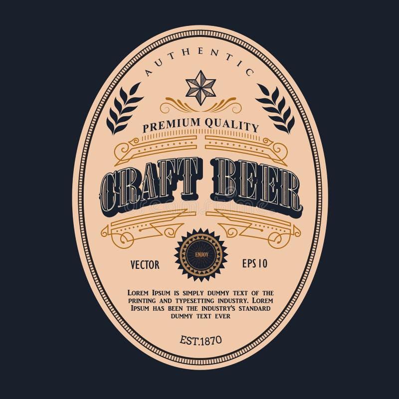 啤酒标签设计传染媒介古董框架西部葡萄酒的边界 库存例证