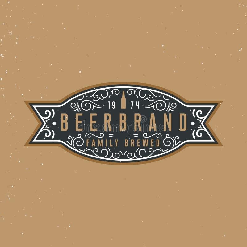 啤酒标签设计文本的,葡萄酒装饰品元素woth地方 皇族释放例证