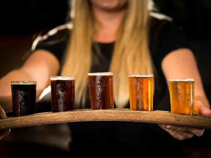 啤酒样品充分的飞行  免版税库存照片