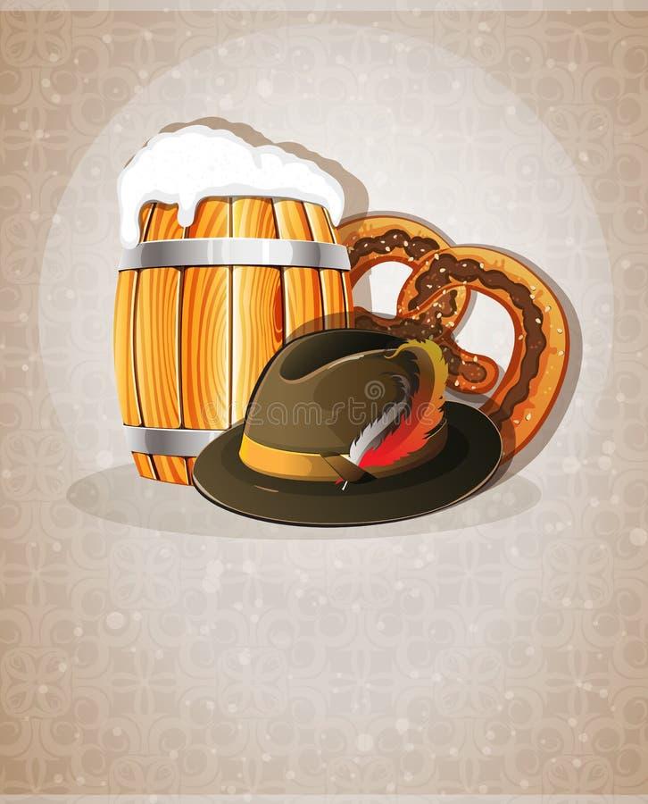 啤酒桶、帽子和椒盐脆饼 皇族释放例证