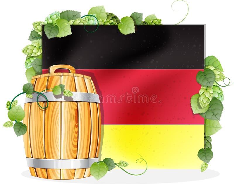 啤酒桶和德国旗子 库存例证