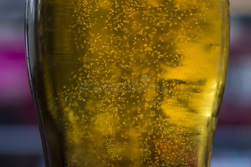 啤酒泡影关闭玻璃射击 免版税图库摄影
