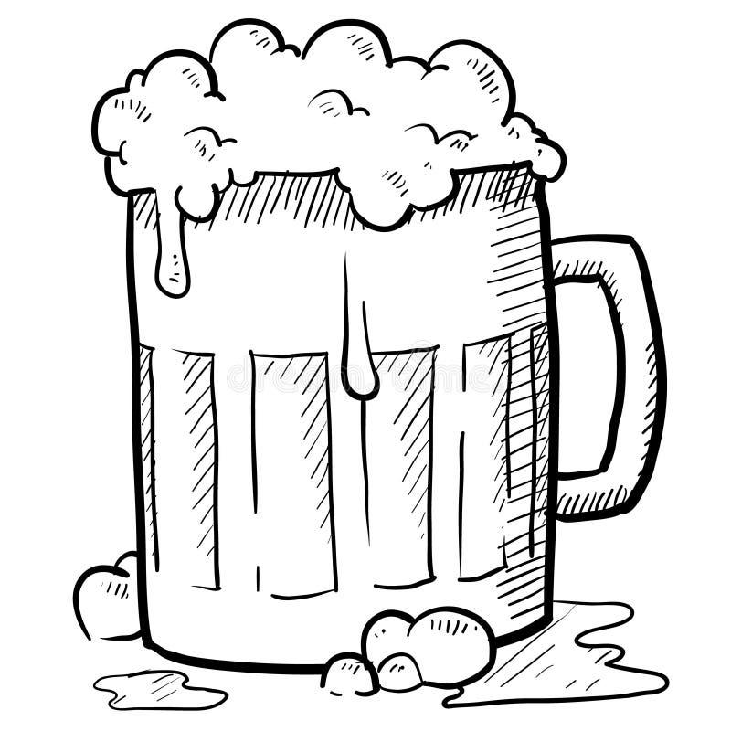 啤酒泡沫的杯子 库存例证