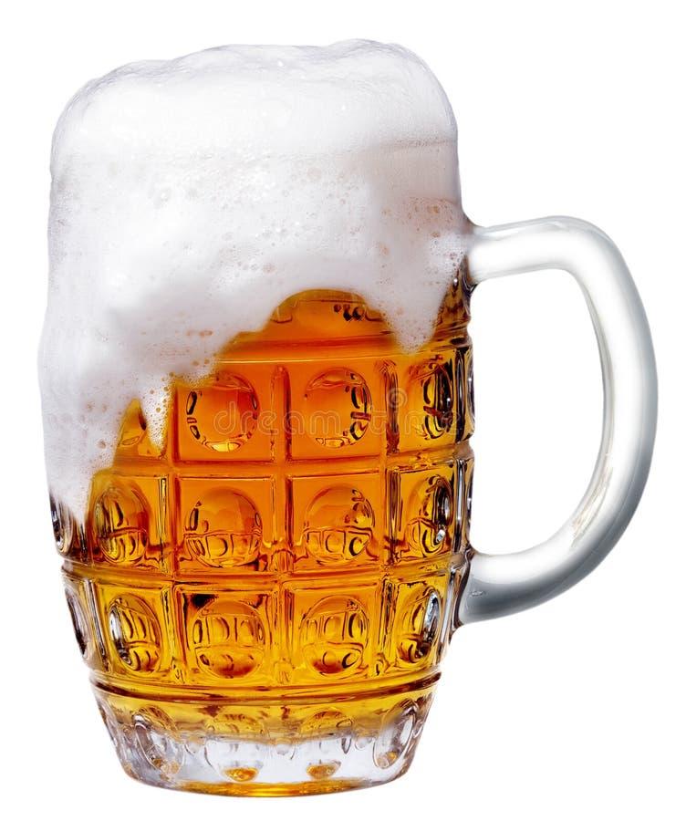 啤酒泡沫玻璃光 免版税库存照片