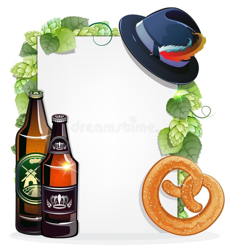 啤酒瓶、椒盐脆饼和慕尼黑啤酒节帽子 皇族释放例证