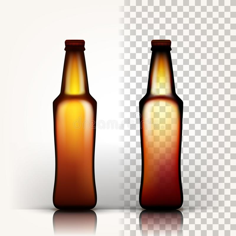 啤酒瓶传染媒介 工艺啤酒的空的玻璃 大模型空白模板 browne 3D透明被隔绝的现实 库存例证
