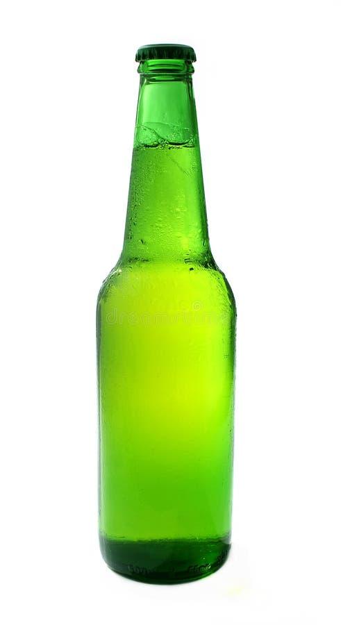 啤酒瓶变冷的冷绿色 库存图片