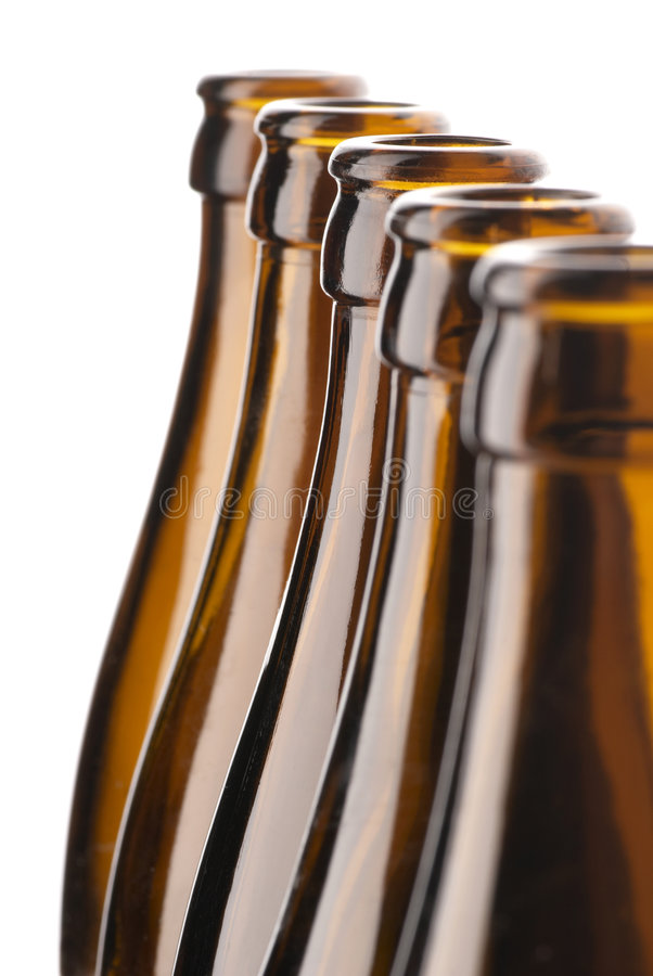 啤酒瓶棕色组 免版税库存照片