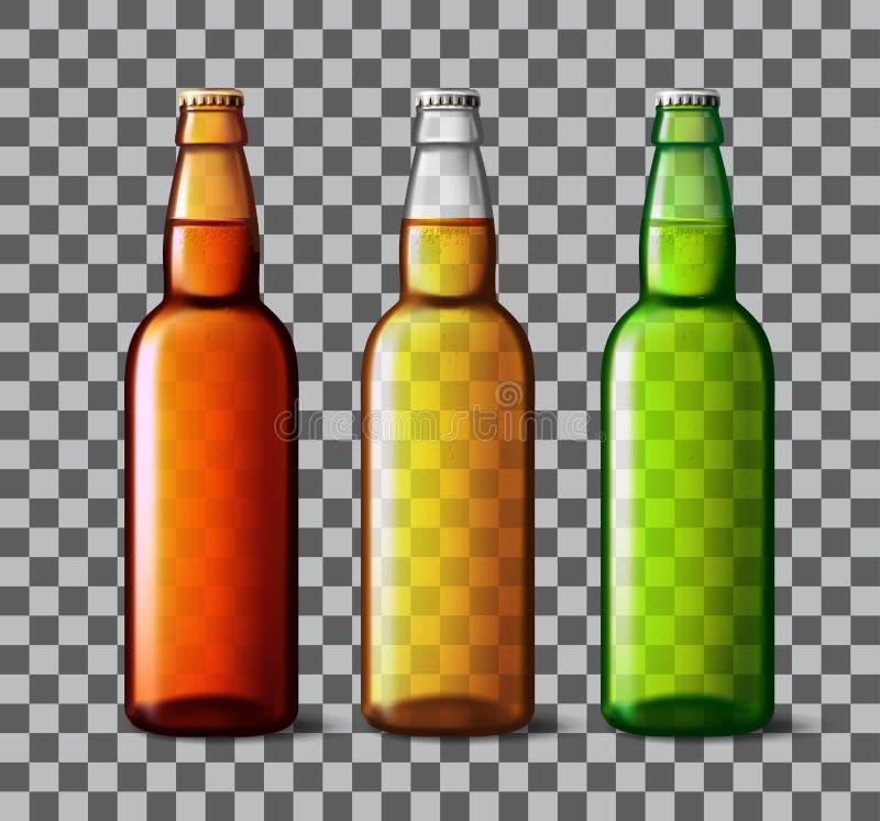 啤酒瓶玻璃 与现实瓶的传染媒介包装的大模型 向量例证