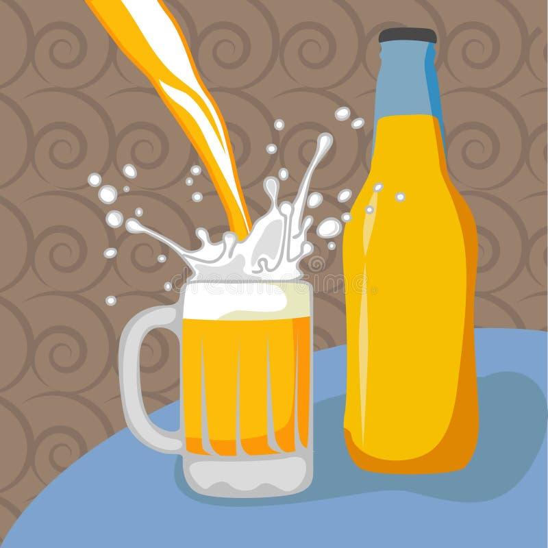 啤酒瓶玻璃 向量例证