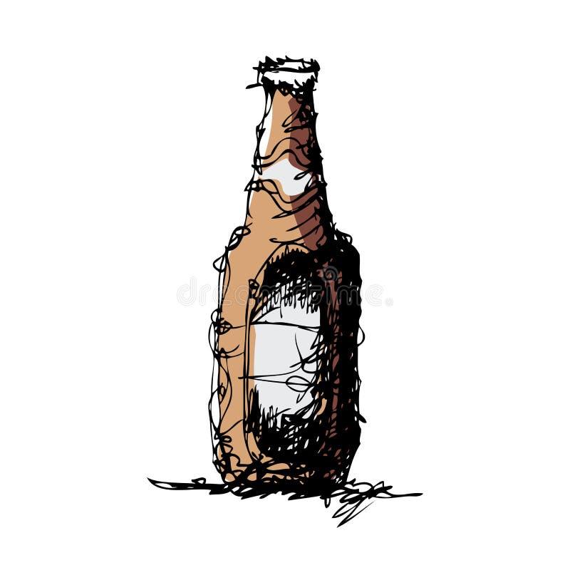 啤酒瓶的略图 皇族释放例证