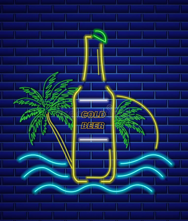 啤酒瓶霓虹灯广告传染媒介 夏天象热带背景 向量例证