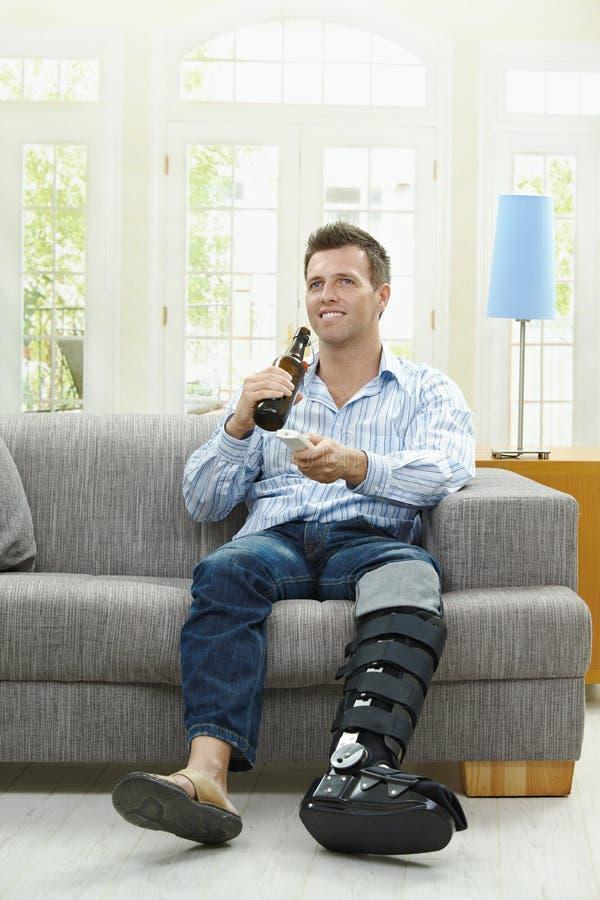 啤酒电视 免版税库存图片