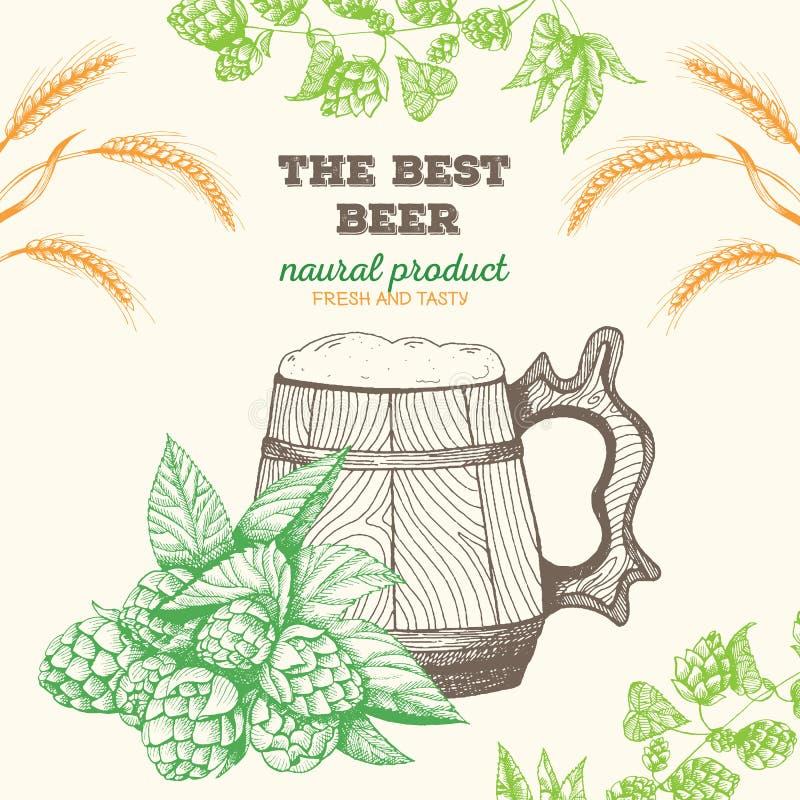 啤酒的向量例证 酿造的原材料:分支蛇麻草和大麦 客栈菜单集合 木的杯子 向量例证