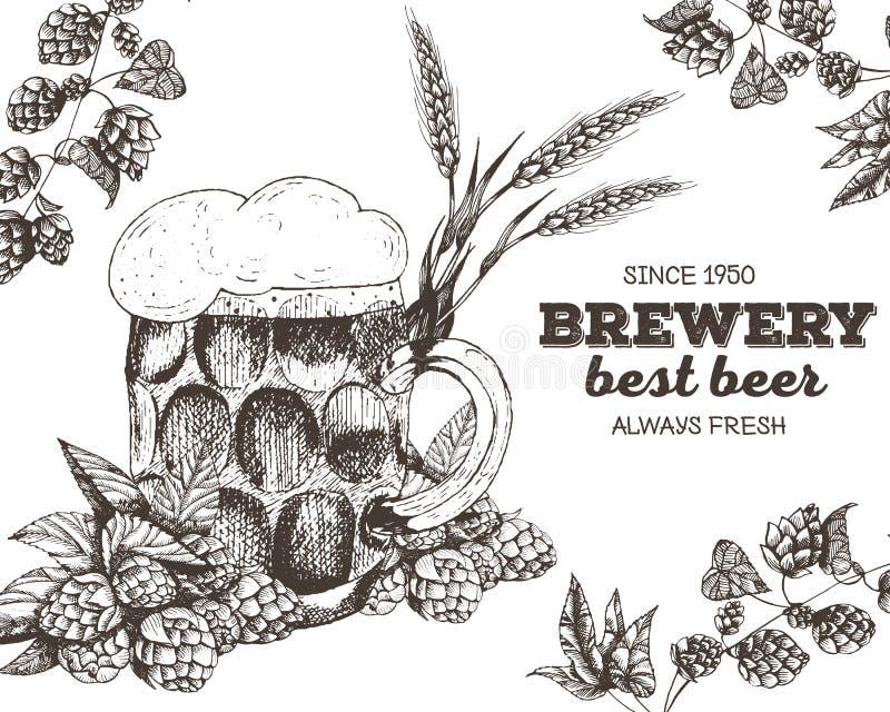 啤酒的向量例证 酿造的原材料:分支蛇麻草和玻璃 客栈菜单集合 向量例证