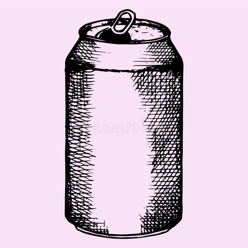 啤酒的,成碳酸盐的饮料被打开的铝罐 向量例证